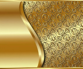 Abstract golden background with floral decoative vector