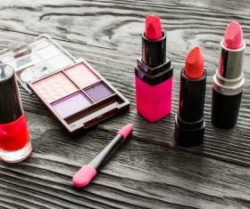 All kinds of lipstick and eye shadow box Stock Photo