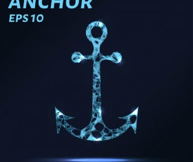 Anchor with points lines 3D vector