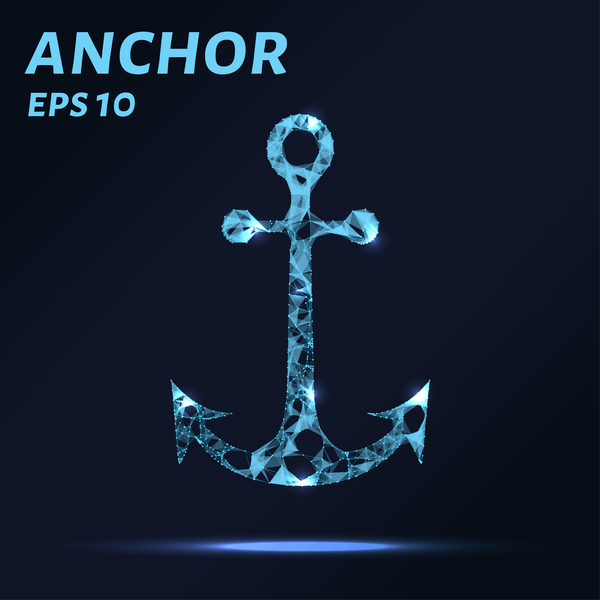 The anchor consists of points, lines and triangles. The polygon shape in the form of a silhouette of an anchor on a dark background. Vector illustration. Graphic concept anchor