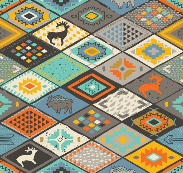 Animal with seamless pattern vector 01