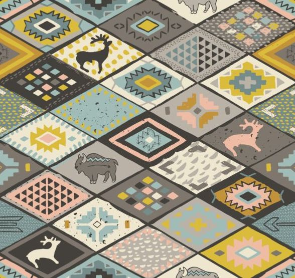 Animal with seamless pattern vector 02