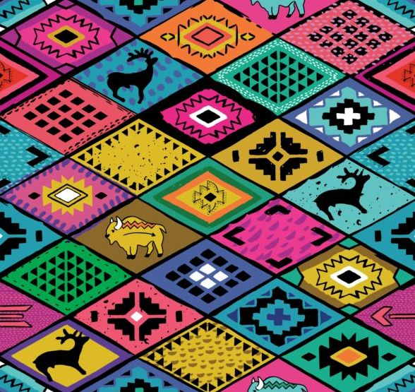 Animal with seamless pattern vector 03