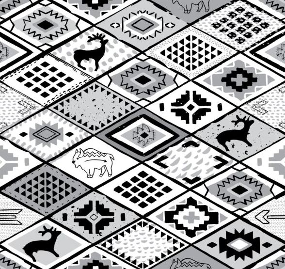 Animal with seamless pattern vector 04