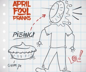 April fools prank hand darwing vector 01