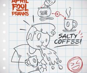 April fools prank hand darwing vector 02