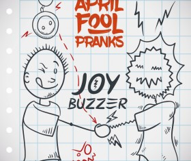 April fools prank hand darwing vector 03
