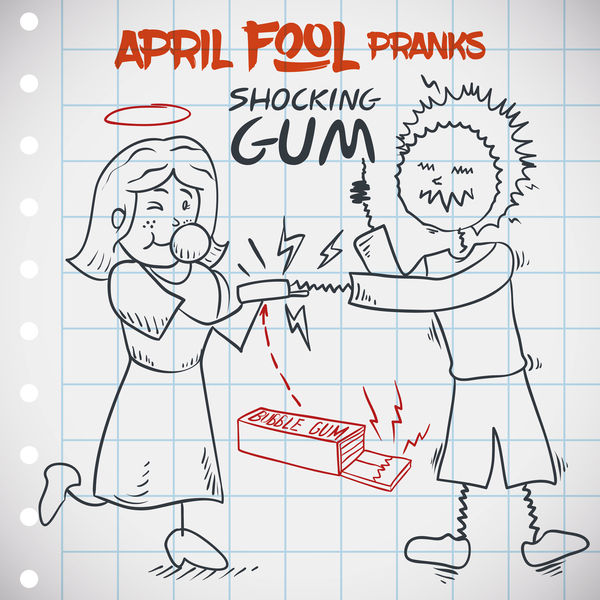 April fools prank hand darwing vector 04