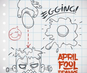 April fools prank hand darwing vector 07