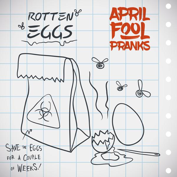 April fools prank hand darwing vector 08
