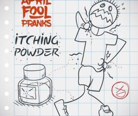 April fools prank hand darwing vector 09