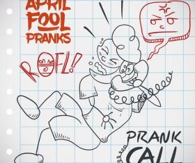 April fools prank hand darwing vector 10