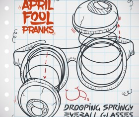 April fools prank hand darwing vector 12