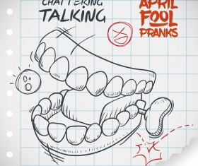 April fools prank hand darwing vector 13