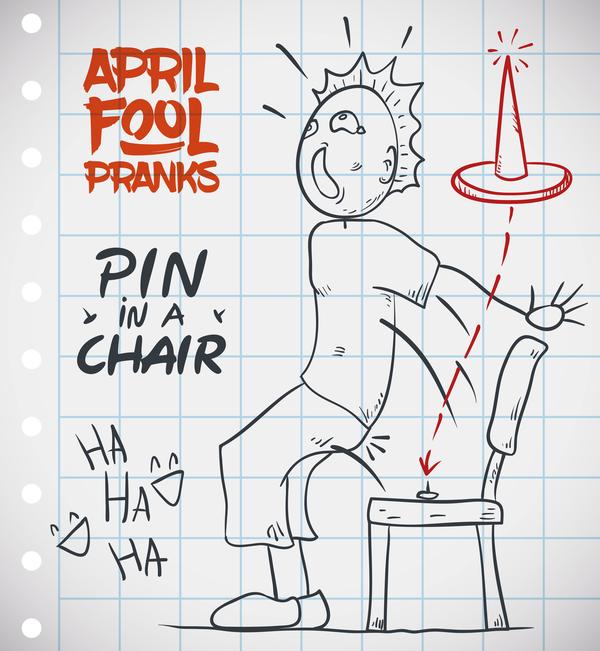 April fools prank hand darwing vector 14