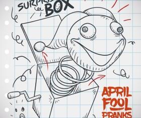 April fools prank hand darwing vector 17