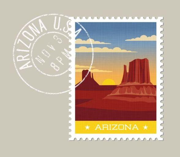 Arizona postage stamp template vector