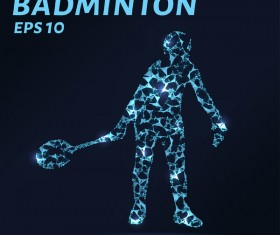 Badminton with points lines 3D vector
