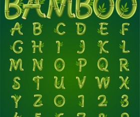 Bamboo alphabet with number vector