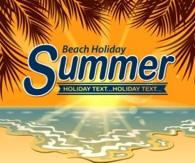 Beach holiday with summer background vector 01