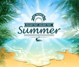 Beach holiday with summer background vector 02