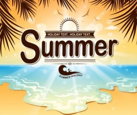 Beach holiday with summer background vector 03
