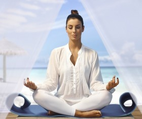 Beautiful woman meditation Stock Photo