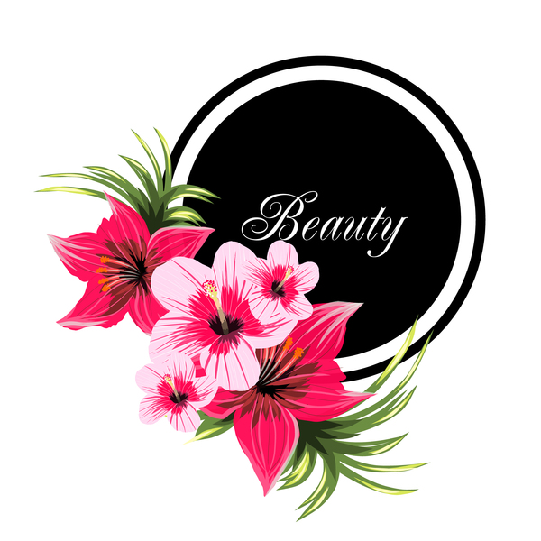 Beauty tropical flowers with black frame vector 01