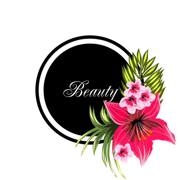 Beauty tropical flowers with black frame vector 02