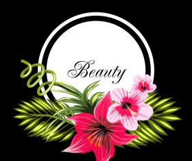Beauty tropical flowers with black frame vector 03
