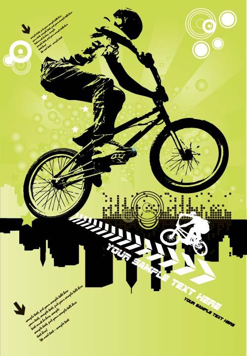 Bicycle Bmx Background Vector Design 02 Vector