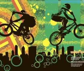 Bicycle BMX background vector design 03