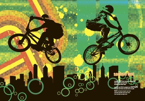Bicycle BMX background vector design 03