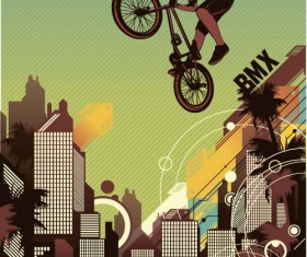 Bicycle BMX background vector design 07