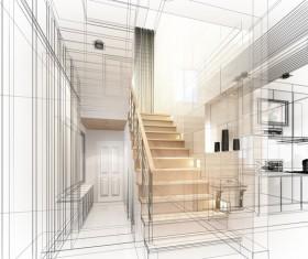 Black and white line Interior Design Stock Photo