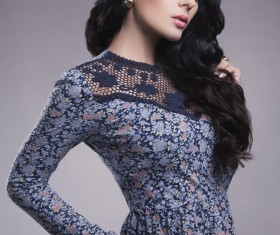Black hair blue floral skirt beautiful woman HD picture 03
