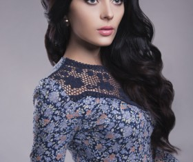 Black hair blue floral skirt beautiful woman HD picture 04