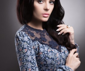 Black hair blue floral skirt beautiful woman HD picture 05