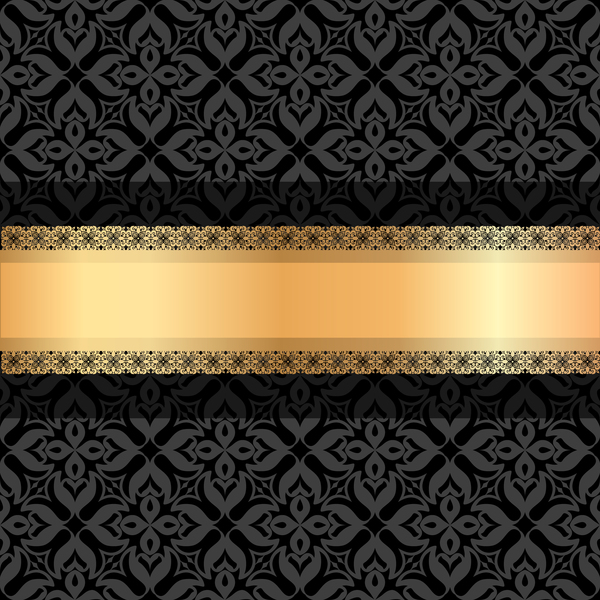 Black luxury decoration with gold ribbon background vector 01