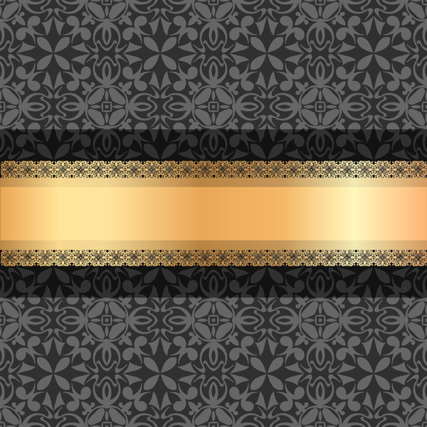 Black luxury decoration with gold ribbon background vector 02