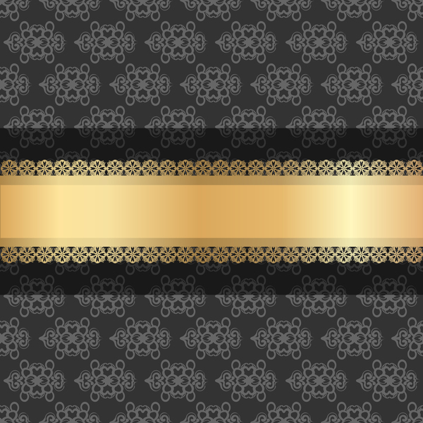 Black luxury decoration with gold ribbon background vector 03
