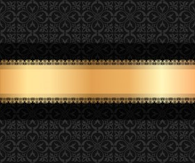 Black luxury decoration with gold ribbon background vector 04