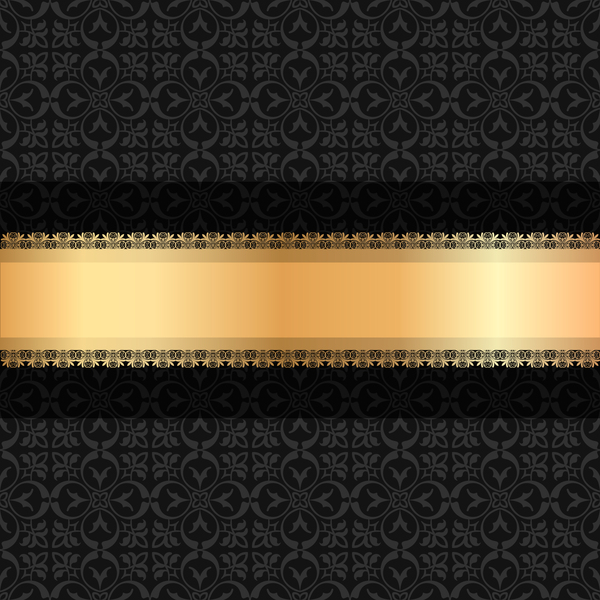 black luxury decoration with gold ribbon background vector 04 free