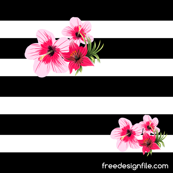 Black with white background and tropical flowers vector 01