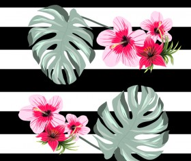 Black with white background and tropical flowers vector 02