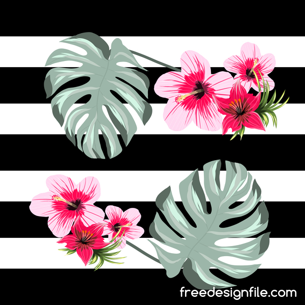 Black With White Background And Tropical Flowers Vector 02 Free Download