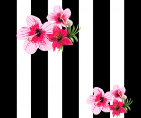 Black with white background and tropical flowers vector 03