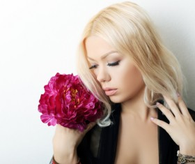 Blond woman with flowers Stock Photo 02