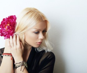 Blond woman with flowers Stock Photo 03
