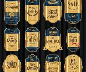 Blue and golden luxury labels vector 02